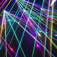 Laser Add-On Colorful Lasers on black background.
